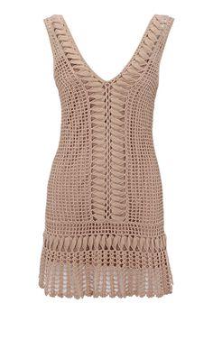 Crochet lace dress by Karen Millen. Crochet Summer Dresses, Crochet Skirts, Crochet Blouse, Crochet Clothes, Crochet Lace, Crochet Designs, Crochet Patterns, Mode Crochet, Crochet Woman