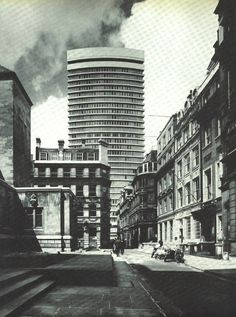 Drapers Gardens, Throgmorton Avenue, City of London, London (circa 1968) - demolished. Richard Seifert  Partners in conjunction with Norman James, 1963-7