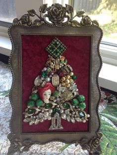 Vintage Chic Rhinestone Jewelry CHRISTMAS TREE Pearls Upcycle Framed Art
