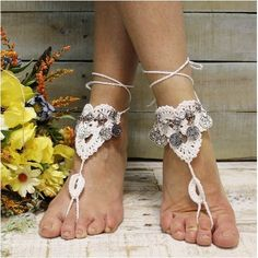 524d584e462c6c ... Bohemian charm barefoot sandals. Your feet will want to dance all day  wearing our hand crochet white footless sandals with antique silver Boho  charms.