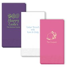 "Beautiful high quality personalized 3-ply guest towels. Free online preview. Choice of 30+ napkin colors, 40+ imprint colors, and typestyles. Approximate size 4.25"" x 8"". Shrink wrapped in sets of 50. Made and printed in the USA."