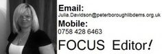 We'd like to welcome Mrs. Julia Davidson, local resident (Fulbridge Road) to the South Werrington and North Gunthorpe FOCUS Team and wish her well in her new role as the FOCUS Editor!