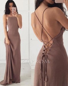 Simple backless chiffon long prom dress, evening dress - 24prom