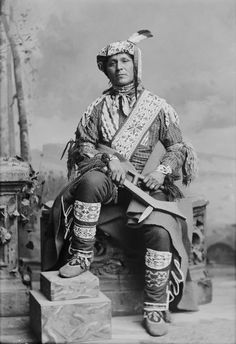 Bemos A. Geshig, Ojibwa (Chief?), in Partial Native Dress and Holding War Club, by Charles Milton Bell, Photographs of American Indians, circa 1874-1890. (Original)