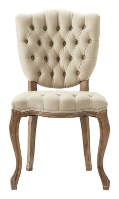 Ava is a delightfully tufted chair dresses up any meal. Available in a soothing shade of linen, this frame will enhance any mealtime event or steal the scene as a stand-alone chair.