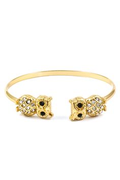 Crystal Owl Cuff in Gold