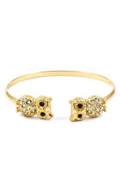 Crystal Owl Cuff in Gold