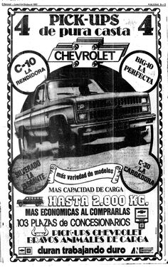 Pick-ups de Chevrolet. Publicado el 04 de octubre de 1982.