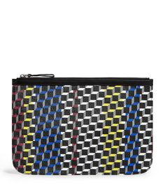 Pierre Hardy Leather Polycube Patterned Pouch In Multi Pouch Pattern, Pierre Hardy, Large Tote, Stripes Design, Harrods, Mens Fashion, Leather, Bags, Clothes
