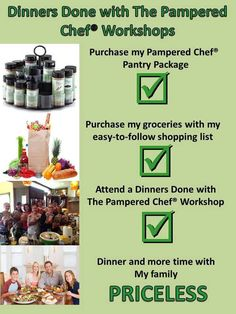 """What's for dinner? Attend a Pampered Chef freezer meal workshop and answer that question with ease. You'll go from """"that's a good idea"""" to """"dinners done! Freezer Cooking, Freezer Meals, Cooking Tips, Pampered Chef Party, Pampered Chef Recipes, Chef Shows, Making Life Easier, Family Meals, Workshop"""