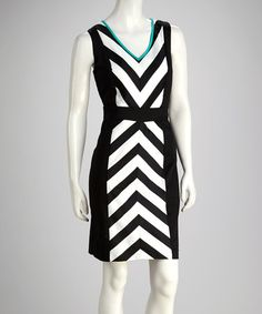 Take a look at this Black & White Chevron Dress by Sandra Darren on #zulily today!