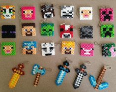 Items similar to 15 mixed keychains or necklaces, swords, pick axe, stampy cat on Etsy Minecraft Crafts, Hama Minecraft, Minecraft Party Favors, Minecraft Party Decorations, Minecraft Birthday Party, Minecraft Houses, Minecraft Skins, Minecraft Backpack, Minecraft Sword