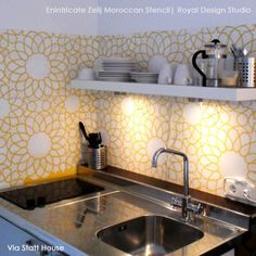 Colorful Stenciled And Painted Kitchen Backsplash DIY Project With Royal  Design Studio Wall Stencils