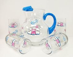 Hey, I found this really awesome Etsy listing at https://www.etsy.com/listing/203982782/flying-pig-pitcher-and-glasses-set
