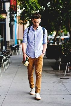 Men's Blue Longsleeve Shirt, Tobacco Chinos, and White Low Top Sneakers