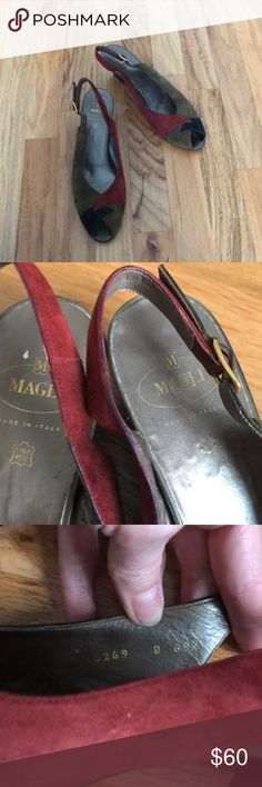 Gorgeous Bruno Magli suede open toe sling backs Excellent condition and vibrant colors! Beautiful Bruno Magli open toe sling backs in size 8 with 2 inch heel Bruno Magli Shoes