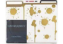 Cynthia Rowley File Folders, 3 Tab, 6/pack, Assorted Gold