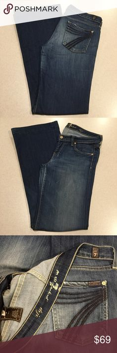 7 For All Mankind Jeans 29X35 Dojo In Geneva! ❗️READ DESCRIPTION, SEE PICTURES❗️ 7 for all mankind jeans Size 29 35 inch long unaltered inseam (hard to find!) The dojo in Geneva, Famous blue stitched 7 back pockets Vibrant dark blue denim with soft fading These are an extra stretchy pair, great condition except some wear on heals, a bit of loose stitching on 7, and some spots of wear on thighs as shown, NO LOW RATINGS/RETURNS  All of my items come from a smoke free, pet free home and are…