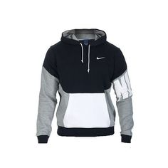 NIKE SPORTSWEAR NIKE CLUB PO COLOR BLOCK HOODIE ❤ liked on Polyvore featuring tops, hoodies, nike hoodie, long sleeve hoodie, cotton hoodie, nike hoodies and nike pullover