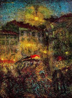 Carlo Carra - 'Piazza Beccaria Milan at Night' - 1910