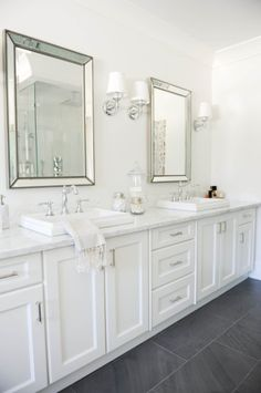 Beautiful bathroom decor some ideas. Modern Farmhouse, Rustic Modern, Classic, light and airy master bathroom design some ideas. Bathroom makeover ideas and bathroom renovation ideas. House Bathroom, Bathroom Styling, Pretty Bathrooms, Small Bathroom, Bath Remodel, Bathroom Decor, Bathroom Design, White Vanity Bathroom, Hampton Style Bathrooms
