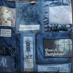 Mixed Denim Fabric Patchwork Bag by CrossMyHeartBags on Etsy