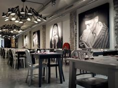 large bold artwork  portraits Amazing interiors, Mazzo Amsterdam