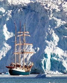 Tall ship in the icy waters of the Fuglesongen glacier, Svalbard, Norway | Patrick J Endres