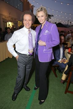 Richard Simmons loaned his purple jacket to Jane Lynch at the slightly chilly al fresco Angel Awards (the downside of dining under the stars)