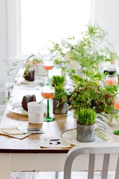 Spring Brunch Table - love the potted grass!