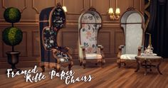 My Sims 4 Blog: Framed Rifle Paper Chair Recolors by HamburgerCakes
