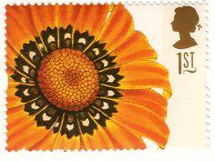 UK flower postage stamp