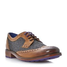 TED BAKER MENS CASSIUSS 3 - Herringbone Material and Leather Brogue - tan | Dune Shoes Online