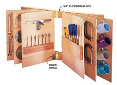 "Tool Storage Book Put a ton of tools up on the wall in this tool ""book.""Hang 1⁄2- or 3⁄4- in.-thick plywood ""pages""4 in. apart on horizontal 2x4s with 3-in. door hinges. Screw and glue 3⁄4-in. plywood blocks between the hinges and the 2x4s so the pages can pivot without binding. The pages shown here are 16 in.wide by 24 in. long—build yours whatever size you need."
