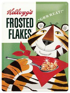 Kellogg's Frosted Flakes Tony Tiger Emaille bord
