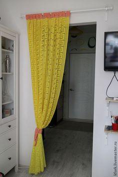 Занавеска - штора вязаная,для кухни,занавеска вязаная,для загородного дома