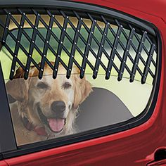 """CAR WINDOW PET GATE. Keep your pet cool and happy - and safely inside the vehicle! Expandable gate lets fresh air in when traveling or parked, and folds flat and compact for easy storage. Fits most car's side window, and secures instantly onto window and into the frame. Made of durable polypropylene. Expands from 13""""L to 38""""L."""