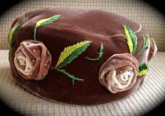 Designer William Silverman Pillbox Velvet Hat 1950s by RhodiumRose, $72.00