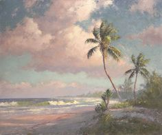 "Backus Gallery & Museum: ""North Hutchinson Island""by A. Backus x Horse Oil Painting, Oil Painting Abstract, Florida Images, Orlando, Scenery Paintings, Tropical Art, Country Art, Hutchinson Island, Lovers Art"