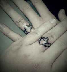 Wedding Ring Tattoos Claddagh wedding ring tattoo :) I'll forever be loyal, loving, and be your best friend my love. Claddaugh Tattoo, Claddagh Ring Tattoo, Tatoo Ring, Ring Tattoos, Body Art Tattoos, Cute Couple Tattoos, Family Tattoos, Wedding Band Tattoo, Wedding Bands