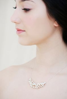Freshwater Pearl Necklace. Very easy to DIY with just a few beading skills.