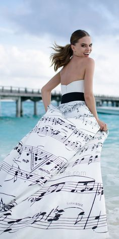 Acort Music Note Black and White Strapless Evening Dress by Tarik Ediz