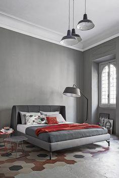 Chambre minimaliste et elegante, camaieu de gris, sol graphique | minimalist chic bedroom in grey, floor