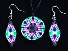 Psychedelic Ying-Yang mandala fimo jewelry necklace and/or earrings