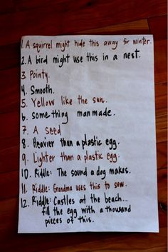 Scavenger hunt ideas (this blogger includes the list with an egg carton of plastic eggs to contain the loot!)
