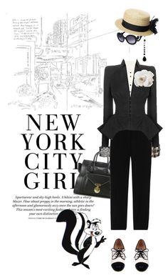 Pepe goes to NYC by pensivepeacock on Polyvore featuring polyvore fashion style Moschino Cheap & Chic Le Bunny Bleu CÉLINE Chanel Reiss Prada PèPè clothing