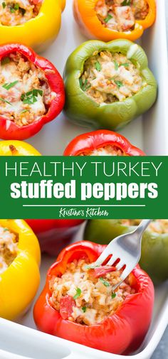 Stuffed bell peppers with rice, ground turkey or beef, tomato sauce and seasonin. Stuffed bell peppers with rice, ground turkey or beef, tomato sauce and seasonings. These easy Italian stuffed peppers are a healthy meal that you can make ahead! Italian Stuffed Peppers, Ground Turkey Stuffed Peppers, Stuffed Peppers Healthy, Stuffed Peppers With Rice, Bell Pepper Stuffed, Stuffed Bell Peppers Chicken, Healthy Meal Prep, Healthy Cooking, Stuffed Peppers