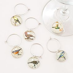 Bird Wine Charms, Set of 6   World Market -- great to tell the drinks apart - Clyde Trunk bar!