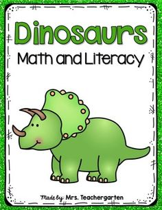 Dinosaur Math and Literacy PrintablesThis packet is full of fun printables to go with your study of dinosaurs. Perfect for Pre-K and Kindergarten students.This file includes:*5 Dinosaur Posters for Brontosaurus, Stegosaurus, Pterodactyl, Triceratops, and Tyrannosaurus Rex*My Dinosaur Book Cover Sheet and 5 Black and White Posters (staple together for students to color and refer to)*My favorite dinosaur writing prompt*My favorite dinosaur (made for Pre-K students to draw a picture of their…