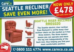 Seattle Dual Motor Recliner, save £20 only £478! Hurry, while stocks last  https://www.careco.co.uk/item-s-rr01020/seattle-riser-recliner/